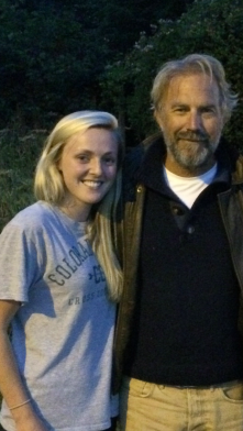 Zoe Skordahl with Kevin Costner